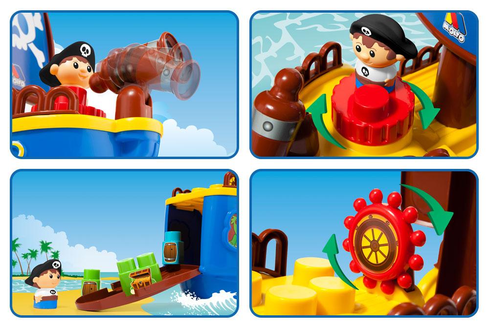 Fotografía e ilustración barco pirata de juguete