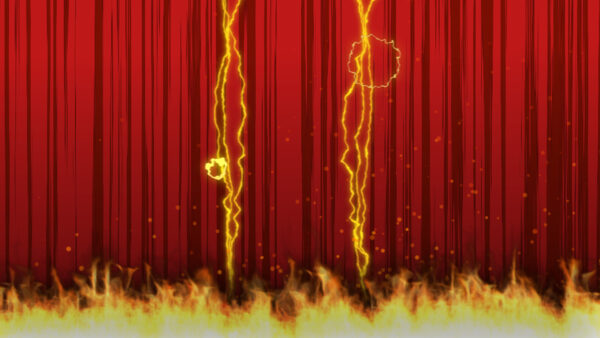 Diseño y animación de fondo rojo con fuego y rayos